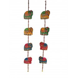 The Ethnic Story Leather Puppetry Elephant Shape Door Hanging ( Pair)