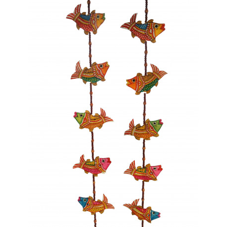 The Ethnic Story Leather Puppetry Fish Door Hanging (Pair)
