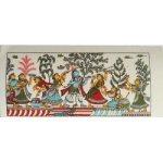 "Pattachitra Painting Radha Krishna On Silk 8"" x 4""/ Pattachitra Art"