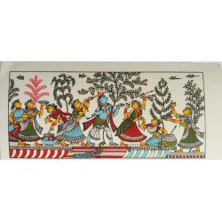 "Pattachitra Painting Radha Krishna On Silk 8"" x 4""/ Pattachitra Art"