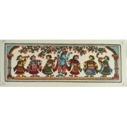 "Traditional Orissa Pattachitra Radha Krishna Miniature Silk Painting 7"" x 2.5"""