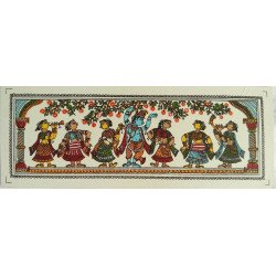 "Traditional Orissa Pattachitra Radha Krishna Miniature Silk Painting 7"" x 2.5"""