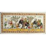 "Traditional Odisha Tribal Art Village Scene Procession Painting On Silk 5"" x 11"""