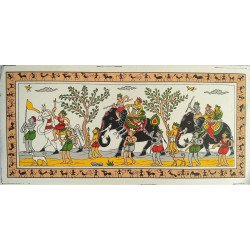 "Traditional Odisha Tribal Art Village Scene Procession Painting On Silk 5"" x 11"""