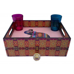 Decorative Wooden Ethnic Print Tray With Drawer/ Organiser