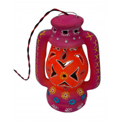 Colourful Handpainted Traditional Terracotta Electric Lantern