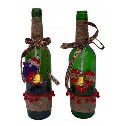 Decorative Christmas Upcycled Empty Bottle Christmas Gift/ Decorative Empty Glass Bottle