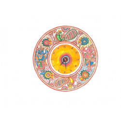 Handpainted Colourful Ganesha Painted Leather Puppetry Wall Clock