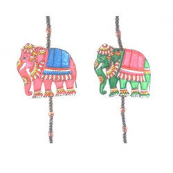 Decorative Hand Painted Elephant Figuires Leather Puppetry Door Hanging Pair