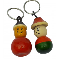 Wooden Smiley Face Painted Key Chain Pair
