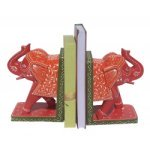 Decorative Handpainted Wooden Elephant Shape Bookends Pair
