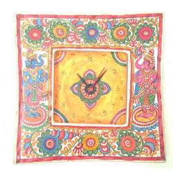 """Colourful Handpainted Ethnic Leather Puppetry Wall Clock 12"""" Ganesha Painting/ Leather Puppetry Wall Decor"""