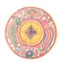 """The Ethnic Story Handcrafted Leather Puppetry Round Wall clock 12"""""""