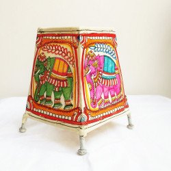 Ethnic Traditional Leather Puppetry Colourful Elephant Design Lampshade 5""