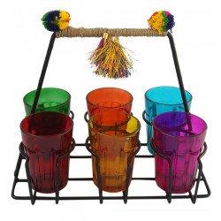 Colourful Set Of Six Tapri Style Cutting Chai Glass Set