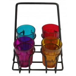 Colourful Set Of 4 Tapri Style Cutting Chai Glass Set