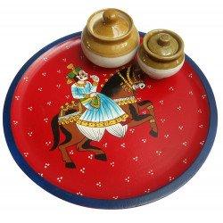 Rajasthani Art Wooden Handpainted Serving Tray/ Wooden Serveware