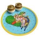 Wooden Handpainted Round Serving Tray/ Platter/ Wooden Serveware