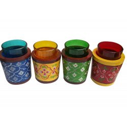 Set Of 4 Colourful Cutting Chai Glass With Wooden Glass Holder