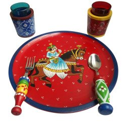 Wooden Handpainted Seveware Cutlery and Glass Set/ Decorative Tableware