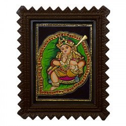 Bala Krishna On Leaf Tanjaore Painting With Frame