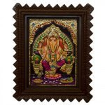 Traditional Tanjore Painting Of Lord Ganesha