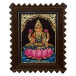 "Goddess Laxmi Tanjore Painting With Wooden Frame 6"" x 8"""