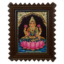 """Goddess Laxmi Tanjore Painting With Wooden Frame 6"""" x 8"""""""