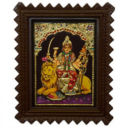 """Goddess Durga Tanjore Painting With Rosewood Frame 8"""" x 10"""""""