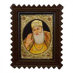 "Guru Nanak Tanjore Painting With Wooden Frame 10"" x 12"""