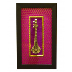 Decorative Wall Hanging Brass Sitar with Frame