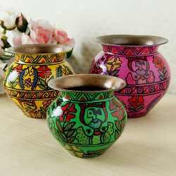 Handpainted Decorative Set Of Three Copper Kalash