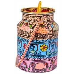 Handpainted Steel Cannister Jar Cookie Jar