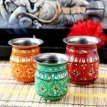 Handpainted Set Of Three Pooja Kalash Lota