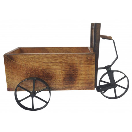 Wooden Cycle Rickshaw Shape Decorative Serveware