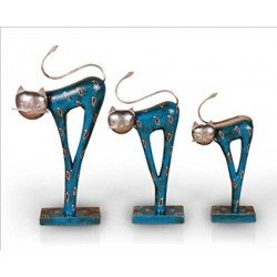 Wooden Family Cat  Set of 3 Showpiece