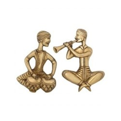 Brass Musician Wall Hanging Playing Tabla and Shenai