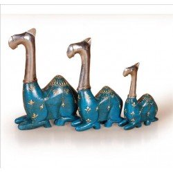 Set of Three Painted Wooden Camel Showpiece
