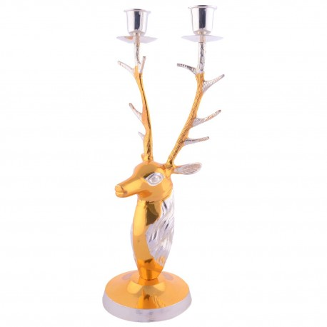 German Silver Gold Plated Deer Head Candle Holder