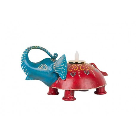 Painted Elephant Shape T Light Holder