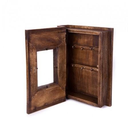 Wooden book shape key holder