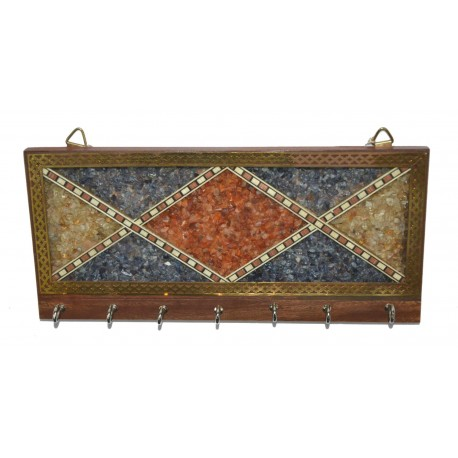 Assorted Gemstones Wooden Key Holder