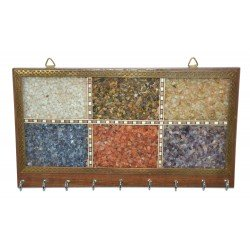 Assorted Gemstones Wooden Key Holder