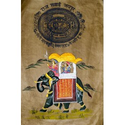 Raj Sawari Painting on Old Stamp Paper