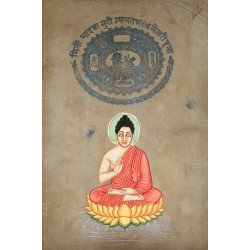 Meditating Budhha Painting on Stamp Paper