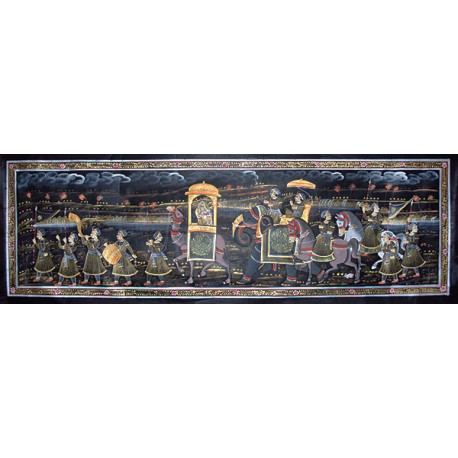 Mughal Emperor Procession Painting on Silk