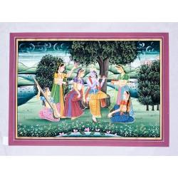 Radha Krishna On Swing Painting on Silk