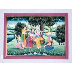 Radha Krishna On Swing Painting on Silk