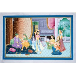 Mughal Emperor and Empress Durbar Painting on Silk