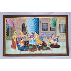 Mughal Emperor and Empress Romance Painting on Silk